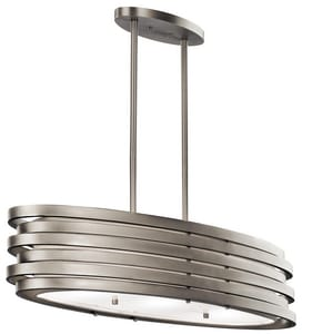 Kichler Lighting Roswell 7-3/4 in. 100W 3-Light Medium E-26 Incandescent Ceiling Light with Satin Etched Glass in Brushed Nickel KK43303NI