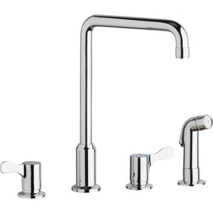 Elkay 4 Hole Flexible Kitchen Faucet With Double Lever Handle