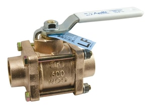 Apollo Conbraco 600psig Bronze Solder Full Port Ball Valve with Latch Lock Lever Handle and Nut A82LF2427