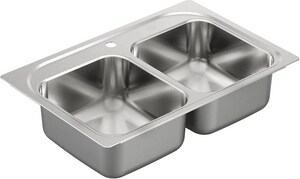 Moen 2000 Series 2-Bowl Drop-In Kitchen Sink with Center Drain MG20213