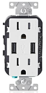 Leviton Decora® 15 AMP USB Charger and Tamper Resistant Receptacle LT5632