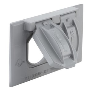 Taymac 1 Gang Horizontal Duplex Cover Device in Grey T51800
