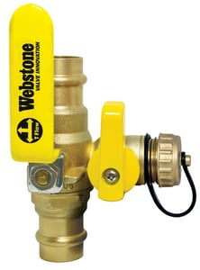 Webstone Company Pro-Pal Series® Hose Brass Full Port Ball Valve with Reversible Handle and Drain W80614W