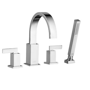 American Standard Times Square® 2.5 gpm Widespread Tub Filler with Double Lever Handle and Personal Shower A7184901