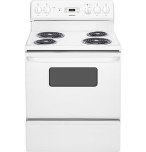General Electric Appliances Hotpoint® 30 in. 5 cf 4-Burner Freestanding Electric Range with Clock GRB526DH