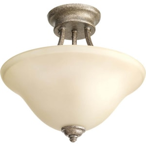 Progress Lighting Spirit 100W 2-Light Medium Incandescent Semi-Flush Ceiling Light PP3414