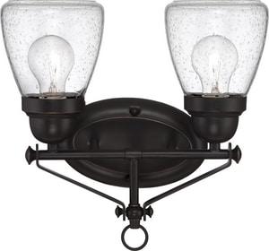 Nuvo Lighting Laurel 2-Light Vanity Fixture with Clear Seeded Glass in Sudbury Bronze N605542