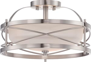 Nuvo Lighting Ginger 100W 2-Light Medium Incandescent Semi-Flush Ceiling Light with Etched Opal Glass in Brushed Nickel N605331