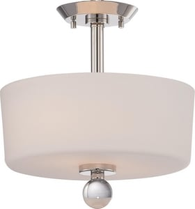 Nuvo Lighting Connie 100W 2-Light Medium Incandescent Semi-Flush Ceiling Light with Satin White Glass in Polished Nickel N605497