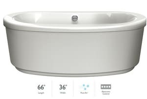 Jacuzzi Bravo™ 65-1/2 x 35-5/8 in. Acrylic Oval Freestanding Air Bathtub with Center Drain and J2 Basic Control JBRF6636ACX2XX