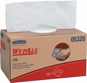 WypAll® L10 10-1/4 x 9 in. 1-Ply Utility Wipes in White (Case of 18) K05320
