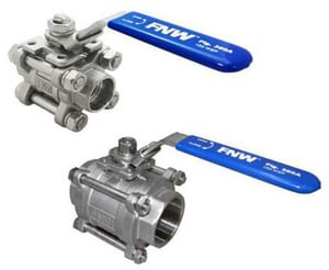 FNW 150 psi 3-Piece Stainless Steel Threaded Full Port Ball Valve FNW360AH