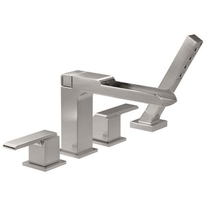 Delta Faucet Ara® 3-Hole 2 gpm Roman Tub Trim with Channel Spout, Hand Shower and Double Lever Handle (Trim Only) DT4768