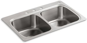 Kohler Verse™ 4-Hole Kitchen Sink in Stainless Steel K5267-4-NA