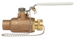 Apollo Conbraco 600 psi CWP Solder x Hose Bronze Ball Valve with Lever Handle A70LF2004HC