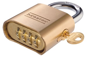 Master Lock 2 x 1 in. Padlock with Key Override in Gold and Silver M176 at Pollardwater