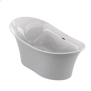 Jacuzzi Verona® 71 x 32-3/4 in. Luxecast Solid Surface Oval Freestanding Bathtub with Center Drain JVRF7133BCXXX