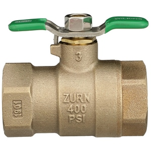 Wilkins Regulator FNPT Bronze and Stainless Steel Full Port Ball Valve with Lever Handle W850TXLSB