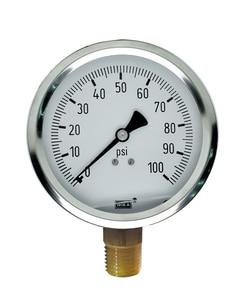 Bourdon 4 in. Stainless Steel Lower Mount Pressure Gauge W501440