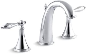 Kohler Finial® 3-Hole Widespread Bathroom Sink Faucet with Double Lever Handle K310-4M
