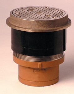 Jay R. Smith Manufacturing Twis-To-Floor® Spigot Floor Cleanout with Round Top Nickel Bronze S4100SNS