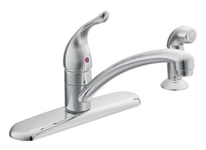 Moen Chateau® 2 gpm Single-Handle 4-Hole Deck Mount Kitchen Sink Faucet Swing Spout 3/8 in. Compression Connection M67430
