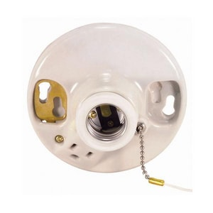 Satco Porcelain Pull Chain Receptacle with Outlet S90444