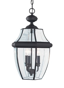 Seagull Lighting Lancaster 20-3/4 in. 40 W 3-Light Candelabra Pendant in Black S603912