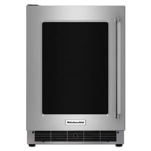 Kitchenaid Under-Counter Refrigerator with Left Swing Glass Door and Metal Trim Shelve KKURL304E