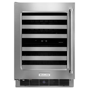 Kitchenaid 23-3/4 in. Wine Cellar with Glass Door and Metal-Front Racks KKUWL304E