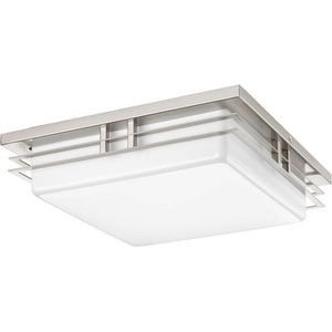Progress Lighting Helm 17W 2-Light LED Flushmount Ceiling Fixture in Brushed Nickel PP34480930K9