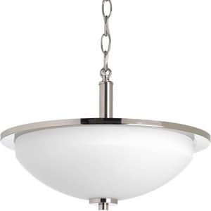 Progress Lighting Replay 100W 2-Light Medium E-26 Base Incandescent Semi-Flushmount Ceiling Fixture in Polished Nickel PP3424104