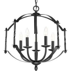 Progress Lighting Greyson 60W 5-Light Candelabra E-12 Base Incandescent Chandelier in Black PP471031