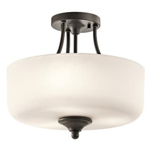 Kichler Lighting Lilah 100W 3-Light Medium E-26 Base Incandescent Semi-Flushmount Ceiling Fixture KK43655