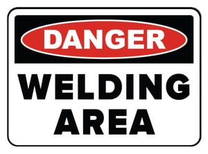 Accuform Signs 14 x 10 in. Adhesive Vinyl Sign - DANGER WELDING AREA AMWLD017VS at Pollardwater
