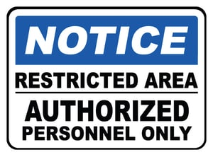 Accuform Signs 14 x 10 in. Adhesive Vinyl Sign - NOTICE RESTRICTED AREA AUTHORIZED PERSONNEL ONLY AMADC808VS at Pollardwater