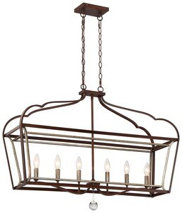 Minka-Lavery Astrapia 60W 6-Light Island Light in Dark Rubbed Sienna and Aged Silver M4346593