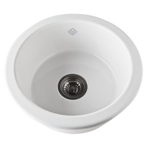 Rohl Shaws 1-Bowl Round Kitchen Sink in White RUM1807WH
