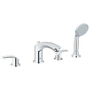 Grohe Eurosmart® 2 gpm 4-Hole Deckmount Roman Tub Faucet with Built-In Diverter with Double Lever Handle G25170