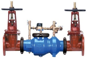 Wilkins Regulator Grooved Ductile Iron Double Check Detector Assembly with Butterfly Valve and Wheel Handle W350ADABG