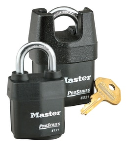 Master Lock Pro Series® 2-3/8 x 3/4 in. Master Keyed Shrouded High Security Padlock in Black and Silver M6325MK at Pollardwater