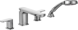 Moen Rizon™ 4-Hole 2.5 gpm Roman Tub Faucet with Double Lever Handle in Polished Chrome MT936