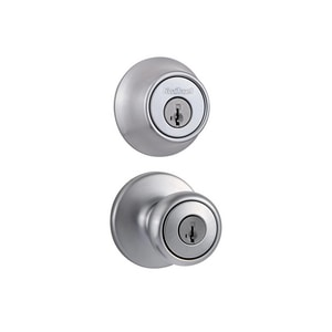 Kwikset Tylo® Metal Knob with Single Cylinder Deadbolt Combo Pack in Brushed Chrome K690T26DSMTRCALRCS