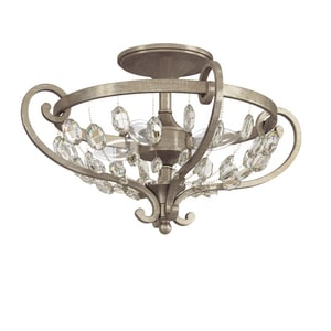 Park Harbor® Rosalind 11 x 18-1/8 in. 60W 3-Light Candelabra E-12 Semi-Flush Mount Ceiling Fixture PHSFL4103