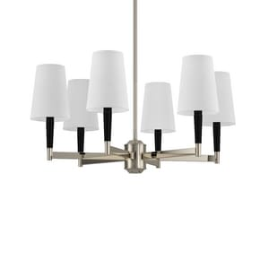 Park Harbor® Pritchard 60W 11-7/8 in. 6-Light Candelabra E-12 Chandlier in Textured Black/Polished Nickel PHHL6126TEXBLPN