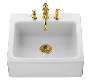 Alcott™ 4-Hole 1-Bowl Tile-In Apron Front Kitchen Sink in White K6573-4-0