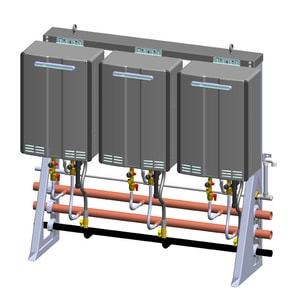 Rinnai Tankless Rack System™ 2-Unit Free Standing In-Line Wall Mount Rack On 3-Unit Frame Exterior Tankless Water Heater RTRS23ILWE