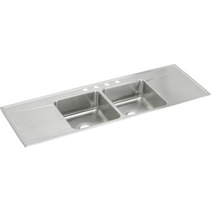 Elkay Gourmet® 2-Bowl Stainless Steel Kitchen Sink with Double Drain Board EILR6622DD
