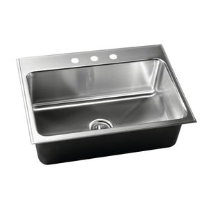 Just Manufacturing 3-Hole Single Bowl Stainless Steel Kitchen Sink JSLX2019A