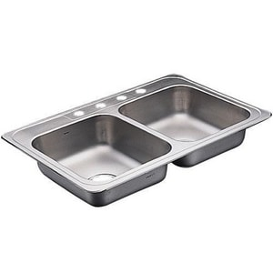 Moen 4-Hole 2-Bowl Stainless Steel Kitchen Sink M22129
